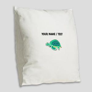 Custom Cartoon Turtle Burlap Throw Pillow
