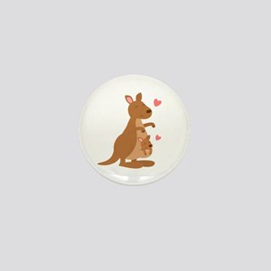 Cute Kangaroo and Baby Joey Mini Button