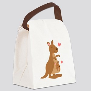 Cute Kangaroo and Baby Joey Canvas Lunch Bag