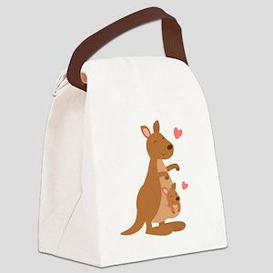Cute Kangaroo and Baby Joey Canvas Lunch Bag