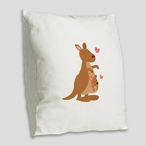 Cute Kangaroo and Baby Joey Burlap Throw Pillow