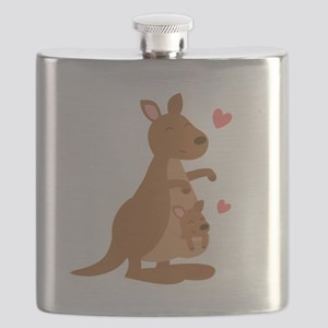 Cute Kangaroo and Baby Joey Flask