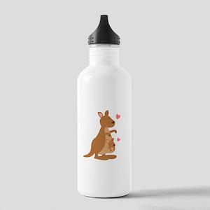 Cute Kangaroo and Baby Joey Water Bottle