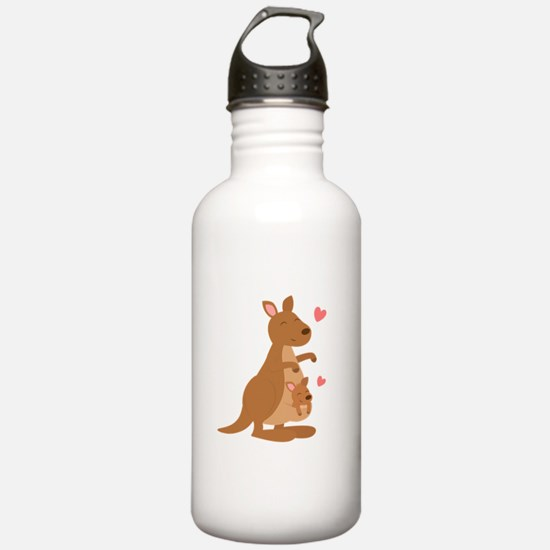 Cute Kangaroo and Baby Joey Water Bottle