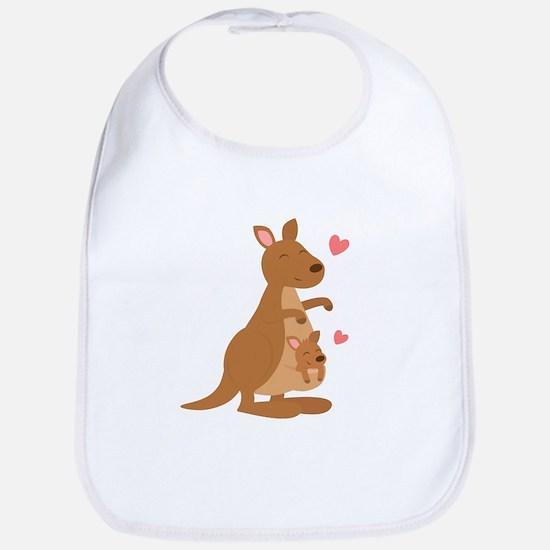 Cute Kangaroo and Baby Joey Bib