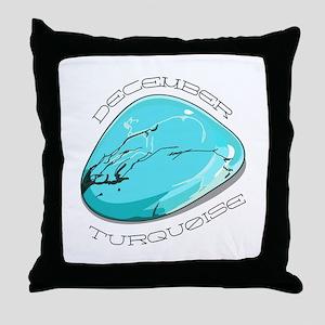 December Turquoise Throw Pillow