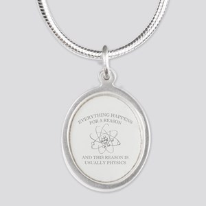 Everything Happens For A Reason Silver Oval Neckla