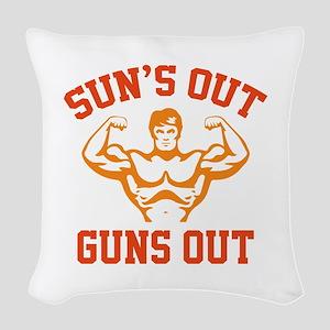 Sun's Out Guns Out Woven Throw Pillow