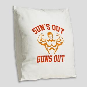 Sun's Out Guns Out Burlap Throw Pillow