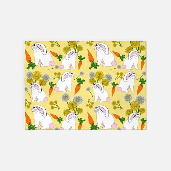 Bunnies and Rabbit Food 5'x7'Area Rug