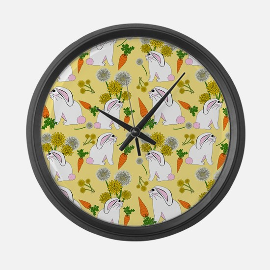 Bunnies and Rabbit Food Large Wall Clock