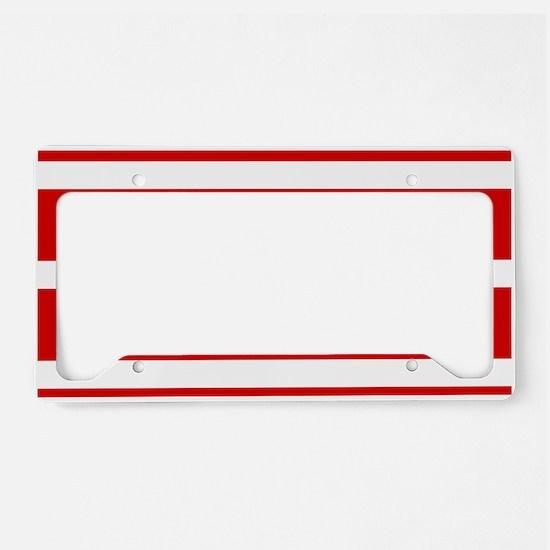 Soccer Ball Banner red white License Plate Holder