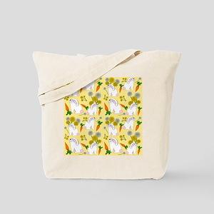 Bunnies and Rabbit Food on Yellow Tote Bag