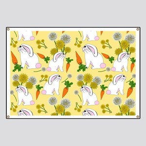 Bunnies and Rabbit Food on Yellow Banner