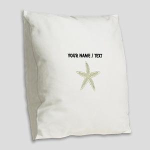 Custom White Starfish Burlap Throw Pillow