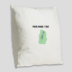 Custom Blue Squid Burlap Throw Pillow