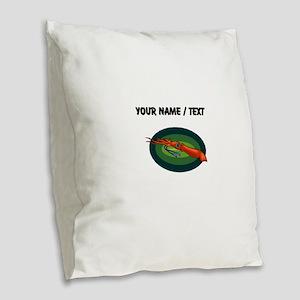 Custom Orange Squid Burlap Throw Pillow