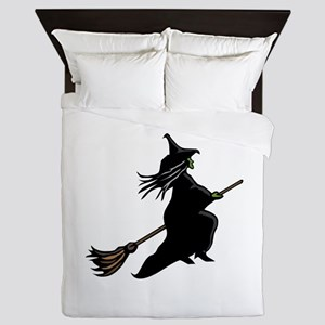 Witch On Broom Queen Duvet