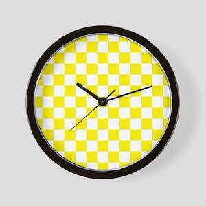 YELLOW AND WHITE Checkered Pattern Wall Clock