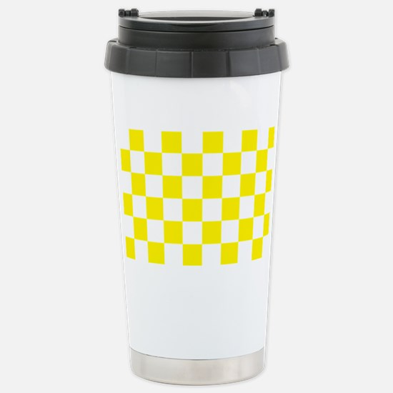 YELLOW AND WHITE Checkered Pattern Travel Mug