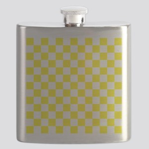 YELLOW AND WHITE Checkered Pattern Flask