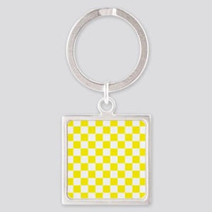 YELLOW AND WHITE Checkered Pattern Keychains