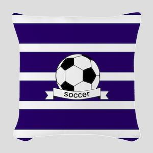 Soccer Ball Banner purple whit Woven Throw Pillow