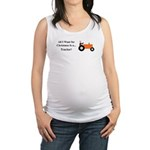 Orange Christmas Tractor Maternity Tank Top