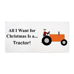Orange Christmas Tractor Beach Towel