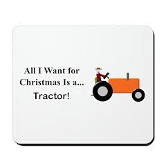 Orange Christmas Tractor Mousepad