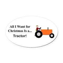 Orange Christmas Tractor Oval Car Magnet