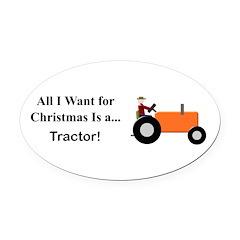 Orange Christmas Tractor Oval Car Magnet