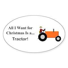 Orange Christmas Tractor Sticker (Oval 10 pk)