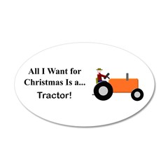 Orange Christmas Tractor Wall Decal