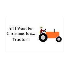 Orange Christmas Tractor Wall Decal