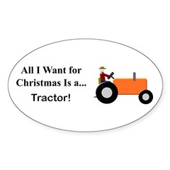 Orange Christmas Tractor Sticker (Oval)