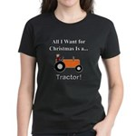 Orange Christmas Tractor Women's Dark T-Shirt