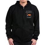Orange Christmas Tractor Zip Hoodie (dark)