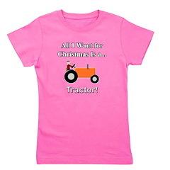 Orange Christmas Tractor Girl's Tee