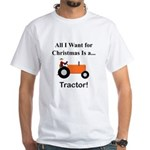 Orange Christmas Tractor White T-Shirt