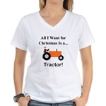 Orange Christmas Tractor Women's V-Neck T-Shirt
