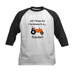 Orange Christmas Tractor Kids Baseball Jersey
