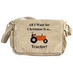 Orange Christmas Tractor Messenger Bag