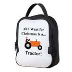 Orange Christmas Tractor Neoprene Lunch Bag