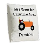 Orange Christmas Tractor Burlap Throw Pillow