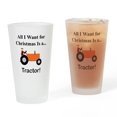 Orange Christmas Tractor Drinking Glass