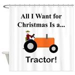Orange Christmas Tractor Shower Curtain