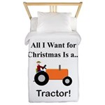 Orange Christmas Tractor Twin Duvet