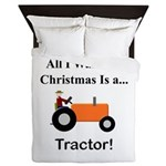 Orange Christmas Tractor Queen Duvet