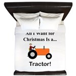 Orange Christmas Tractor King Duvet